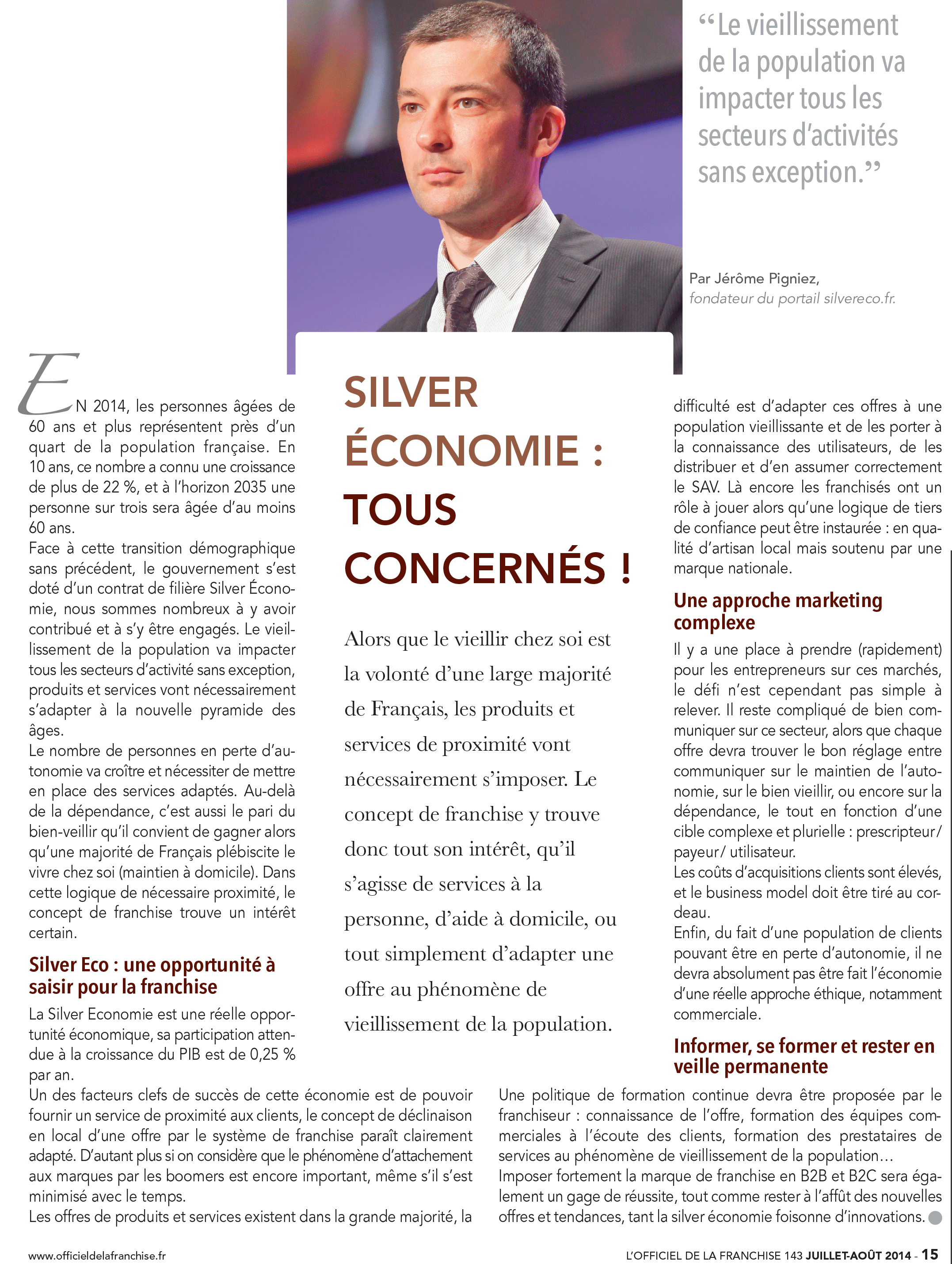 tribune jerome pigniez officiel de la franchise silver economie
