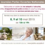 Du 8 au 10 mai 2015 : Journées Portes Ouvertes dans les résidences Les Jardins d'Arcadie