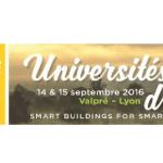 Universités d'été Smart Buildings for Smart Cities les 14 et 15 septembre 2016 à Lyon