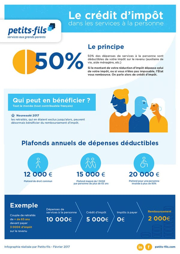 infographie le cr dit d imp t dans les services la personne silver economie. Black Bedroom Furniture Sets. Home Design Ideas