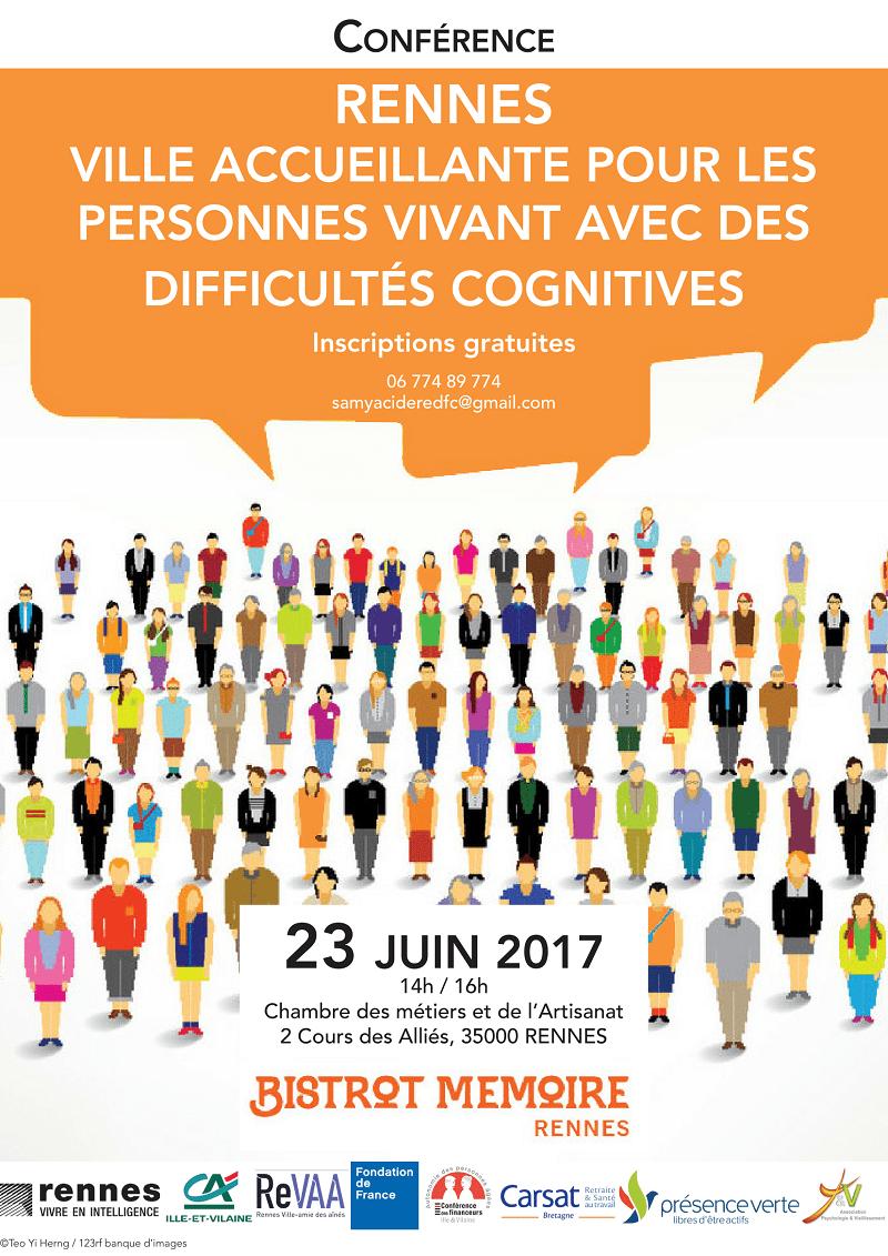 Conférence Rennes ville accueillante pour les personnes aux difficultés cognitives @ Chambre des métiers et de l'Artisanat  | Rennes | Bretagne | France