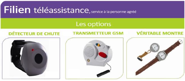 Les Options téléassistance de Filien ADMR : détection de chute, Téléassistance GSM-GPRS, Détecteur de fumée