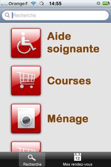 Apperçu d'écran de l'application mobile Service Senior