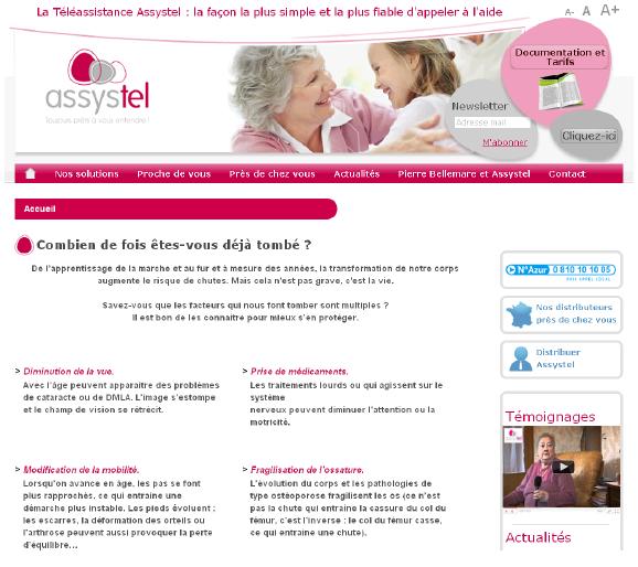 Site internet téléassistance Assystel