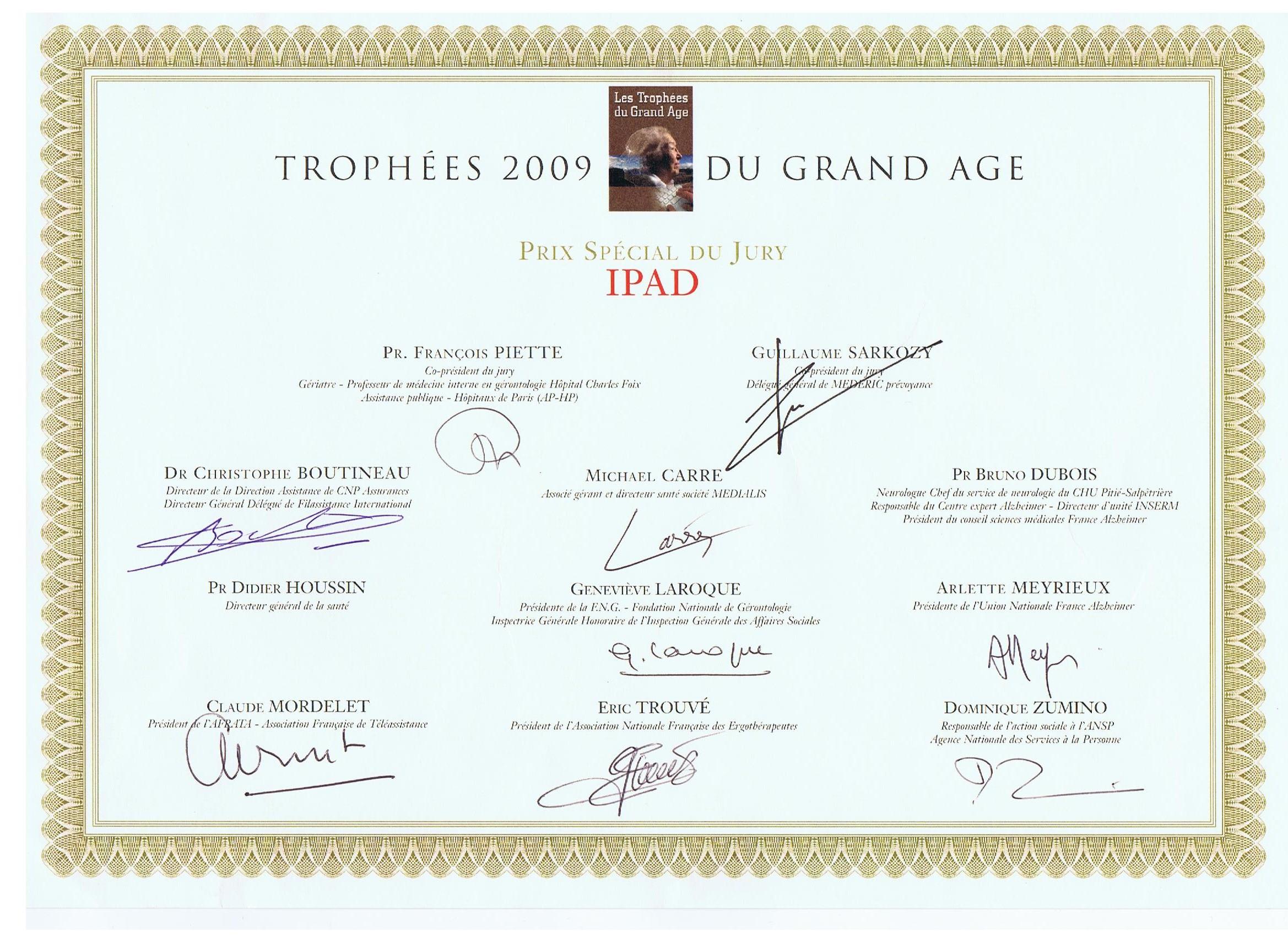 diplôme trophées du grand âge 2009 - IPAD