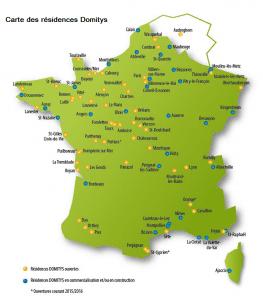 Carte des résidences Domitys en France