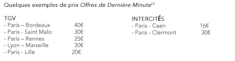 SNCF - Offres de dernière minute