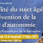 RDV les 16 et 17 mars 2017 pour le 5ème Congrès Francophone «Fragilité et prévention de la dépendance du sujet âgé»