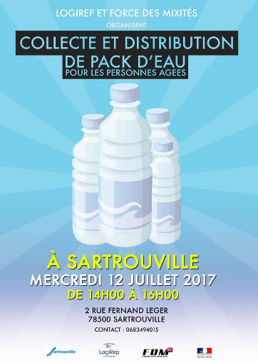 Distribution de packs d'eau Sartrouville