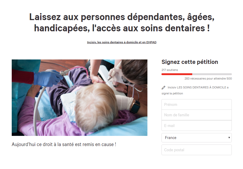 Petition Incisiv - Accès soins dentaires à domicile et en EHPAD