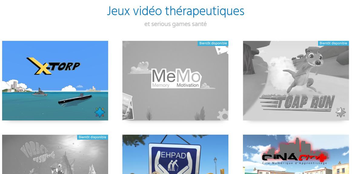 Jeux vidéos thérapeutiques Curapy