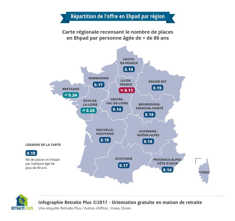 Répartition de l'offre en EHPAD par région