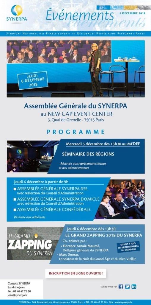 Assemblées Générales du SYNERPA RSS/SYNERPA DOM et Grand Zapping @ SYNERPA   Paris   Île-de-France   France