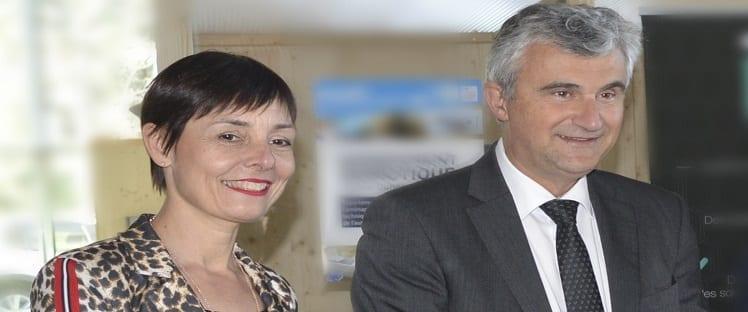 Un jour, un lauréat: André Accary président du Département de Saône-et-Loire et Claude Cannet, vice-présidente chargée des affaires sociales, du 5e risque, des seniors, des personnes handicapées et des offres de soins et lauréats Meilleure initiative Santé / E-Santé 2019