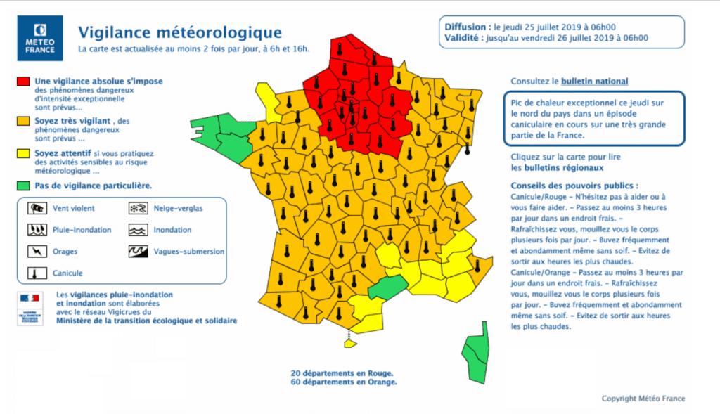 Canicule 2019  - Météo France