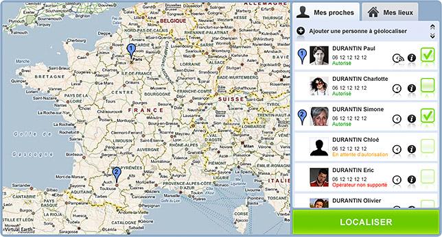 localisation de GSM GeoFamily